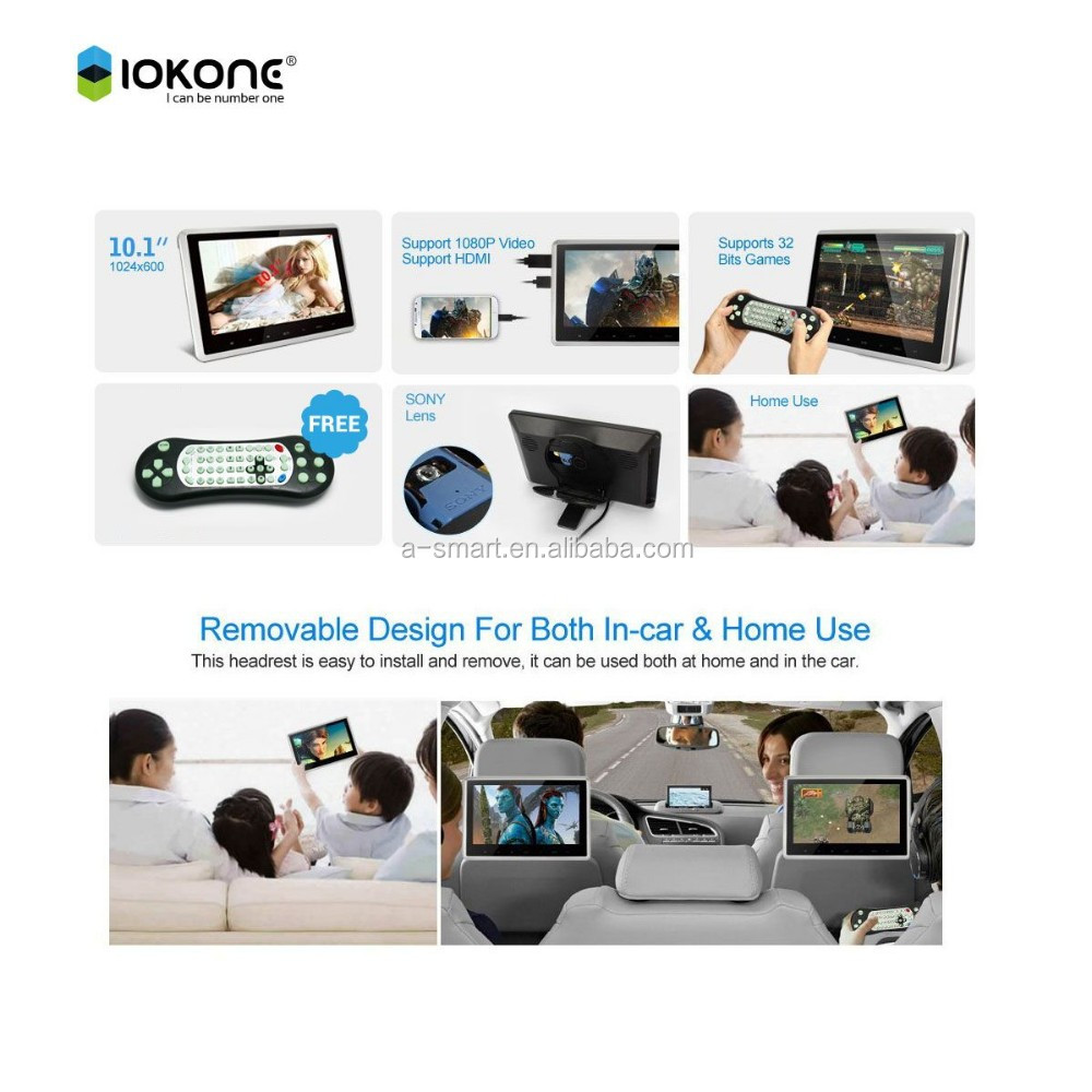 Hot selling wholesale 10 inch hdmi touch monitor USB SD wireless game remobable dvd headrest