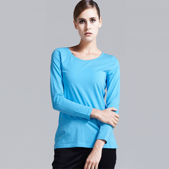 Classic plain pima cotton woman t shirts wholesale