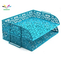 Wideny hollow pattern 2 Tier Stackable Desk Document Letter Organizer file Trays