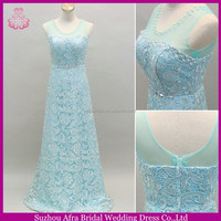 SW198 sheer tulle straps made to order light blue long lace evening dress