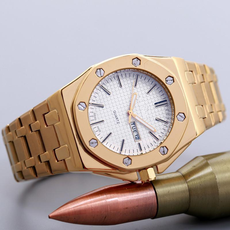 Hot selling all stainless steel AP stylish luxury mens quartz watch fasion gold watch