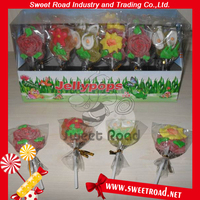 Halal Sweet Flower Shape Gummy Lollipop in Display Box