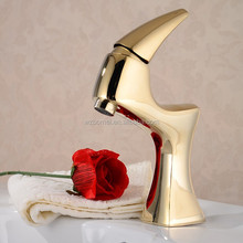 Peacock shape animal design gold plated basin sink faucet for cheap sanitary ware products