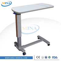 MINA-CB001 Height adjustable mobile abs hospital bed tray with wheels