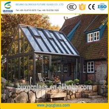 thermal insulation 15mm low-iron toughened building glass curtain wall for sunroom