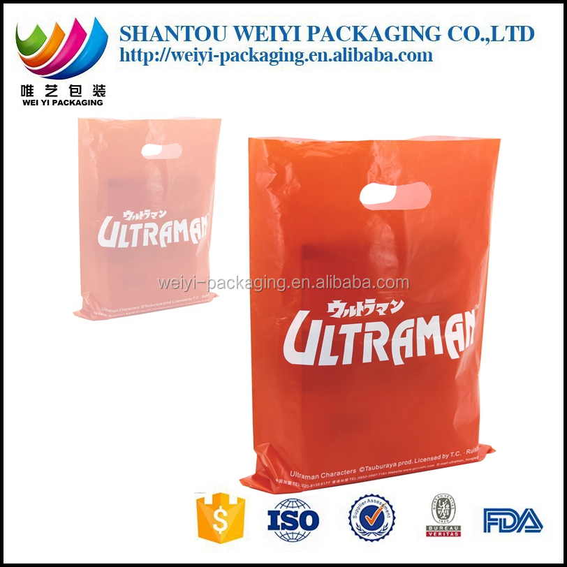 HDPE LDPE PE plastic die cut handle carrier bags