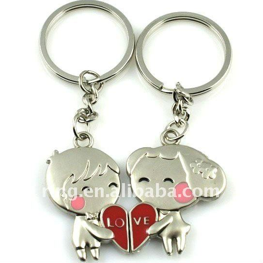 Popular Love Girl and Boy Alloy Key Chain Silver Metal Keyring