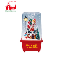 Best Selling snowing transparent case with santa high quality christmas gifts fiber optic santa