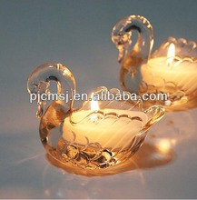 Mini crystal swan candle holder for wedding table decoration