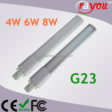 4w 6w 8w led lamp g23, led g23 2-Pin CFL socket, g23 led pl lamp for cfl replacement