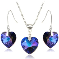 65255 xuping love heart purple set fine jewelry, crystals from swarovski