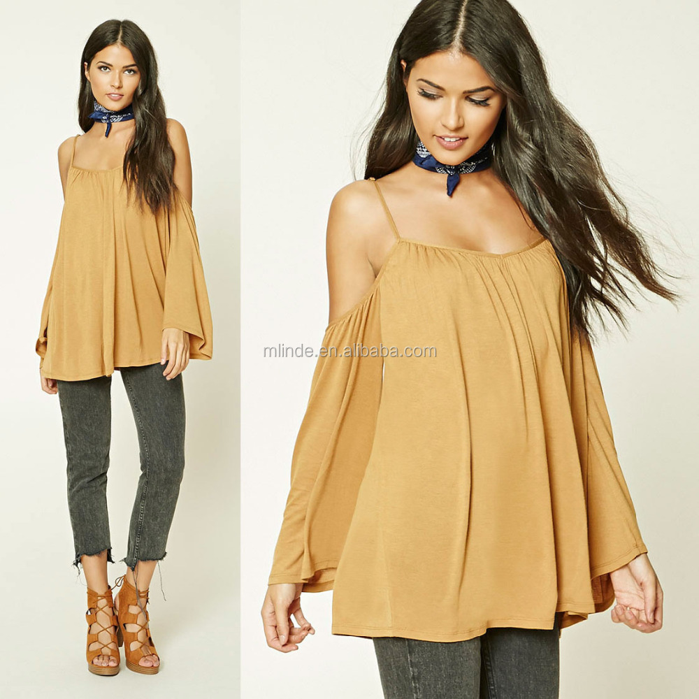 Women Fashion Off the Shoulder Long Sleeve Open-Shoulder Tops Blouses Wholesale Custom Made in China Clohing Agent
