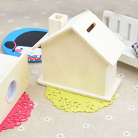 Piggy Bank Wood Chalet Coin House Room Mud White Save money Base Art Decor Children Kid BabyDIY Wooden Crafts