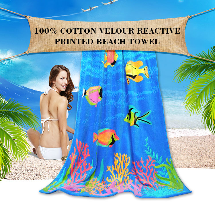 Printed High Quality 100%Cotton Terry Custom Beach Towel