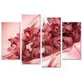 Reddle Orchid Giclee Print Contemporary Photography Canvas Prints Decorative Flower Canvas Artwork Wholesale 4 Panels