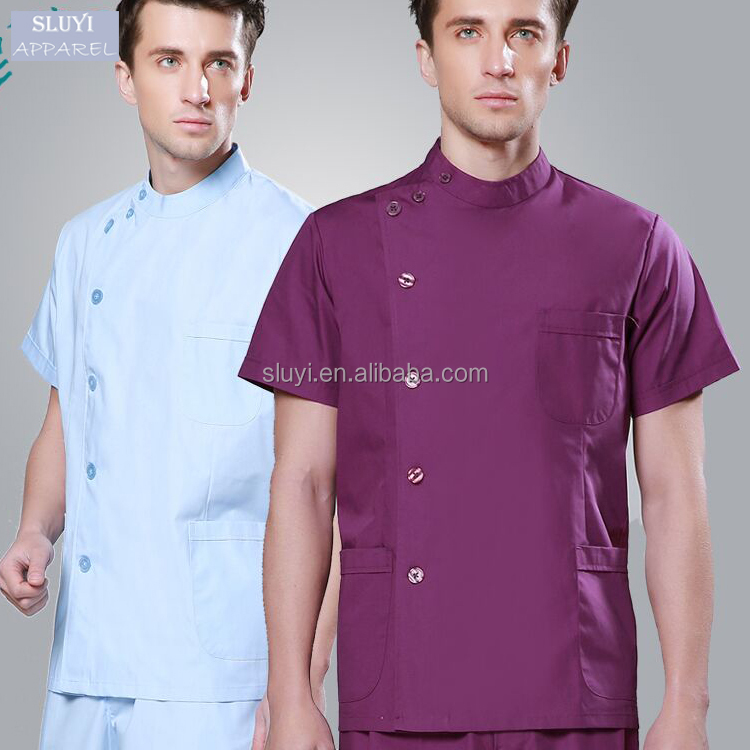hospital housekeeping uniform medical scrub clothes fashionable design slim fit dental design male nurse uniform