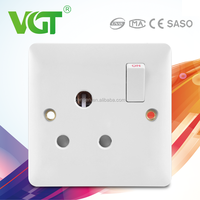 Superior Materials Light Switch Manufacture With Silver Alloy Touch Point Of 1 gang 15A switched socket