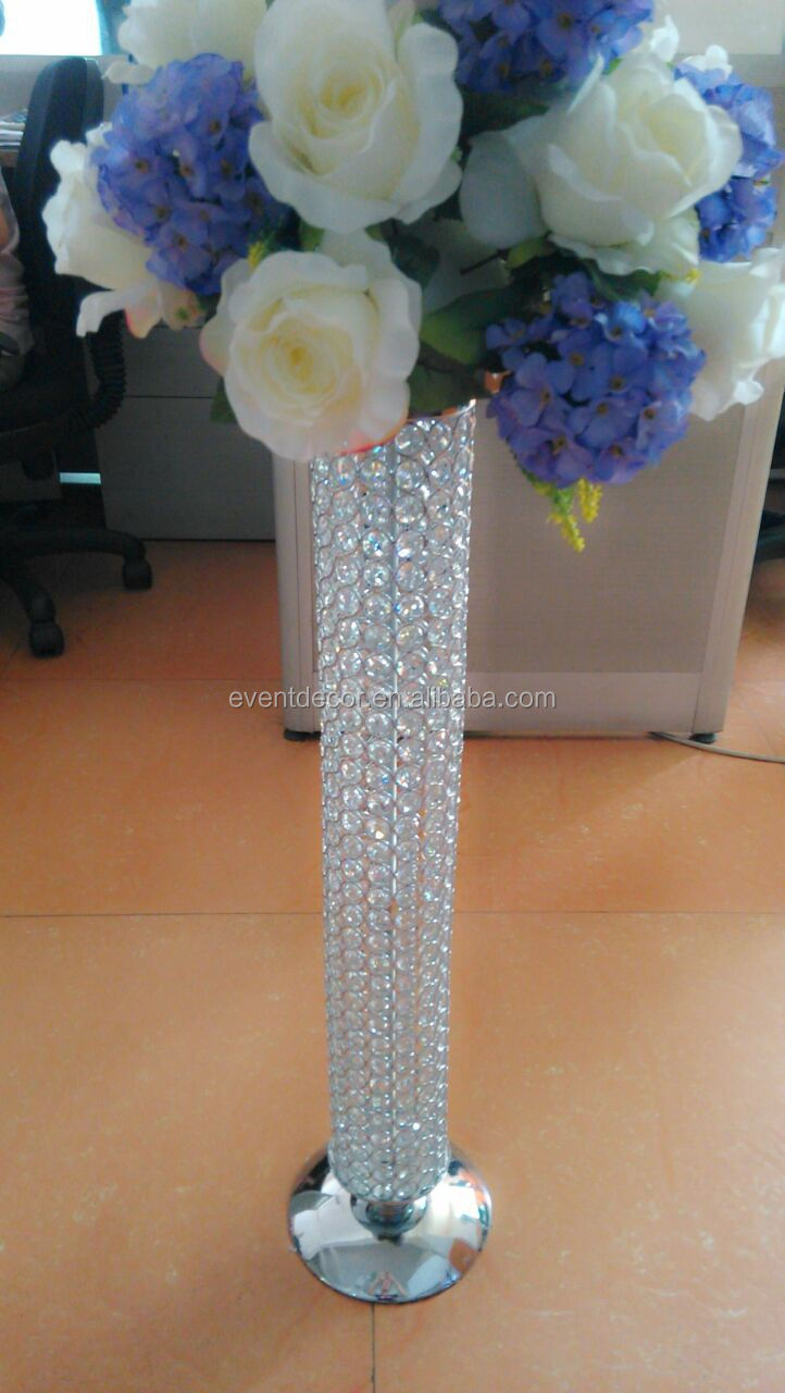 Tall wedding crystal pillar stand flower stand for Buy wedding centerpieces