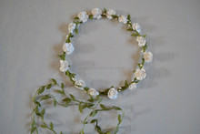 White Color Lovely Girls Handband Wholesale Beauty Flower Crown Headband Girls Hairbands Headband With Fabric Flower H7295