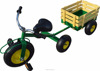 Children tricycle toys with wooden trailer