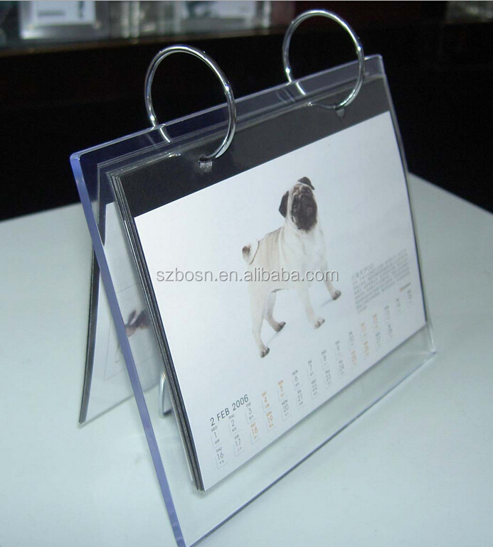 Clear Acrylic Desk Calender Manufacturing acrylic calendar holder wholesale