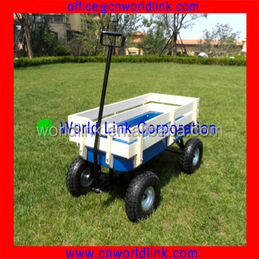 150kgs Strong Wheels Children Beach Carts With Wooden Sides