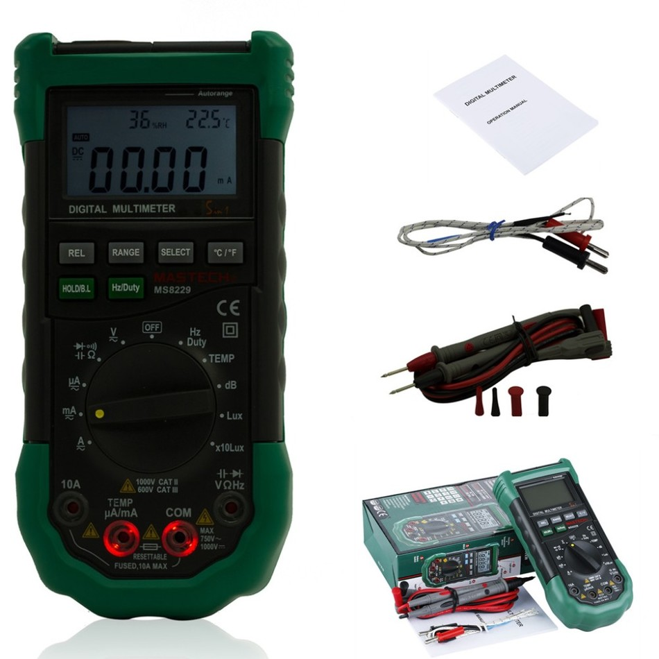 Mastech MS8229 5-in-1 Auto-Range Multi-functional Digital Multimeter AAA Battery Power Digital Multimeter Auto Range <strong>Tester</strong>