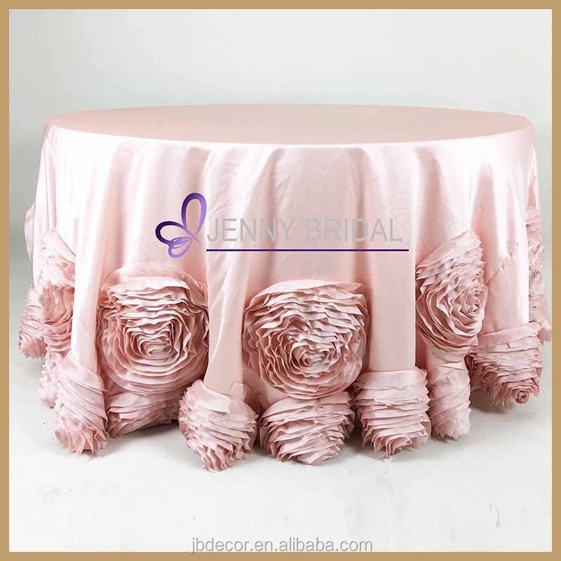 TC107#105-48 132 inch round light pink thick satin rose table cloth with big taffeta flower at the bottom