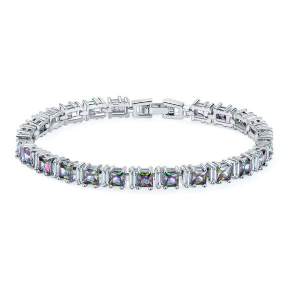 KS0010 Huilin Jewelry AAA Cubic Zirconia Tennis Bracelet For Women Shining Silver Plated Birthstone Crystal Bracelet