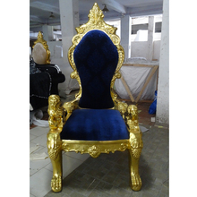 Living room furniture king throne chair luxury high back chair with Gold leaf foil