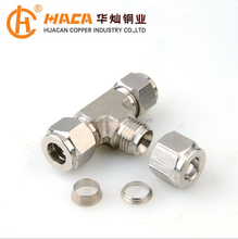 Stainless steel compression pipe fitting tee