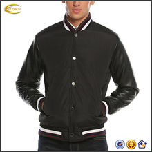 latest custom outdoor men winter leather sleeve coat high quality snap button front winter baseball bomber jacket wholesale