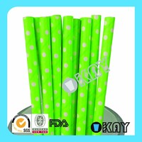 Wholesale Neon Green with White Polka Dot Paper Straw