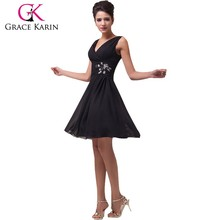 Grace Karin Sexy V-neck Knee-Length Black Chiffon Party Dress CL3440