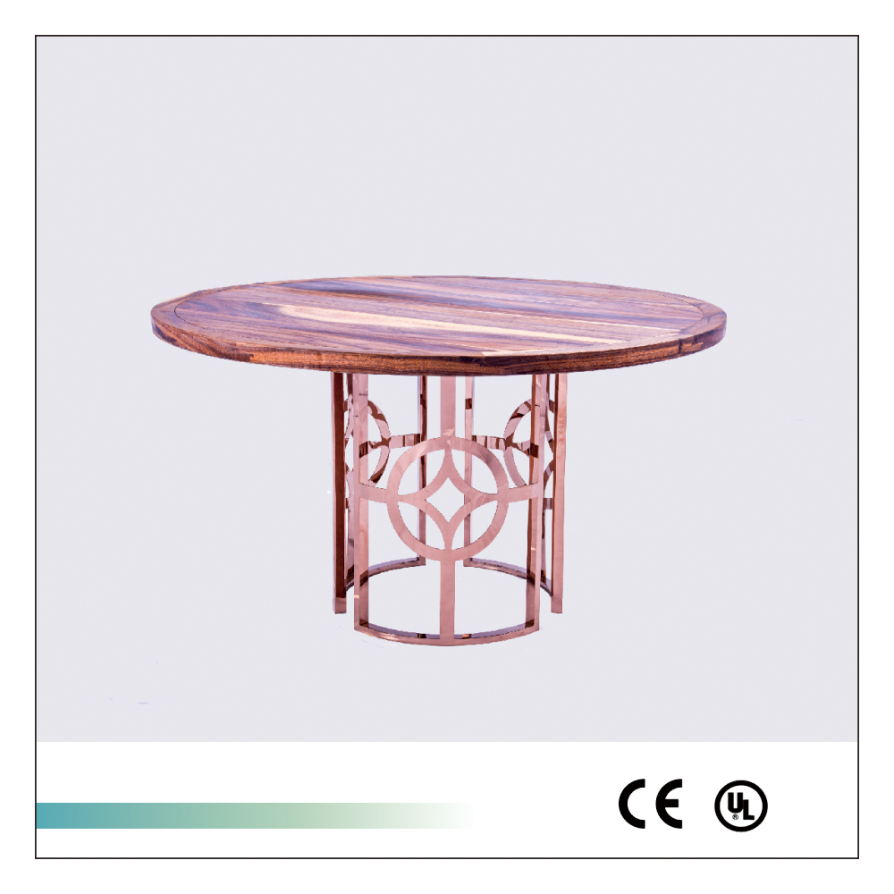 Round Wooden Kitchen Table With Metal Legs Chinese Elegant Style