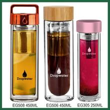 SGS certifications Unique Design insulated glass water bottle with silicone sleeve