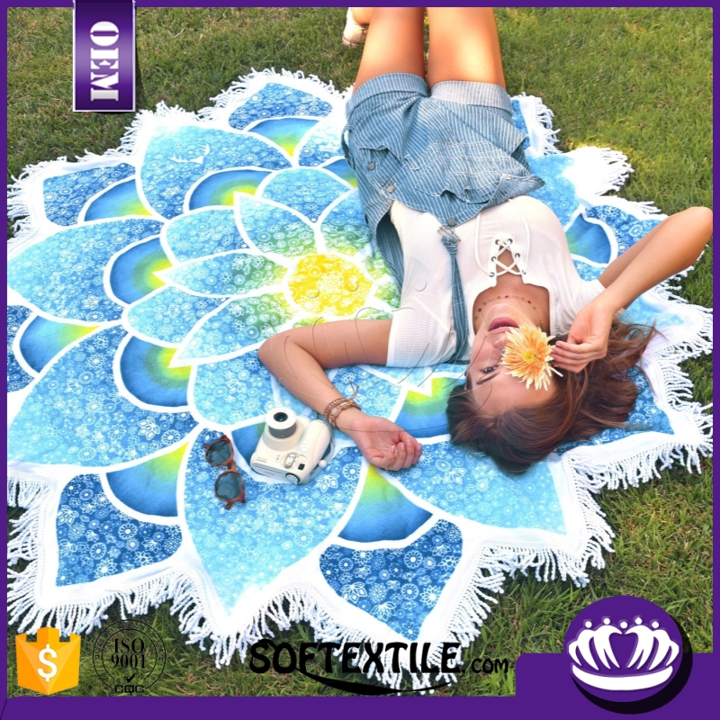 Microfiber Reactive Printing Round Beach Towel With Tassels