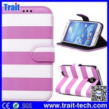 Stripe Cross Texture Pattern Wallet Style Flip Stand PC+PU Leather Case for Samsung Galaxy S4 i9500 i9505 i9502