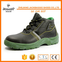 PU/PU outsole Safety boot shoes Cow split leather safety shoes black