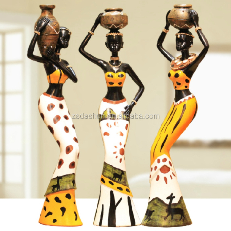 African lady resin figurine, africa statues, figures for home decor resin lady <strong>crafts</strong>