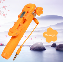 Brand new products 2015 cable take wired selfie stick monopod pen size flower selfie