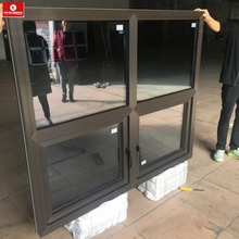 New American style PVC Double low e tempered black casement glass Window for hot sale