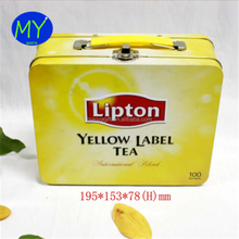 Best quality personalized metal tea packaging tin box with handle