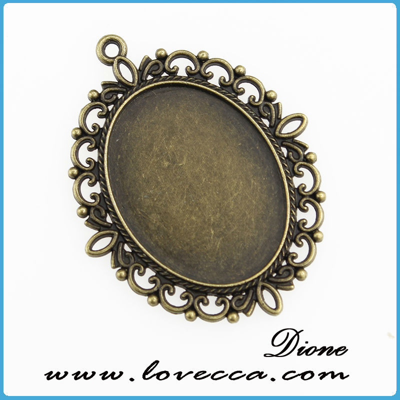 Hot sale !!! jewelry accessories vintage style antique bronze vintage bezel setting, oval 25mm vintage bezel setting