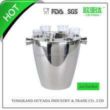 3L stainless steel ice bucket with 6 pcs shot glass OYD-T16S