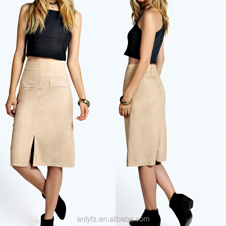 Anly latest skirt design pictures women pocket front maxi ladies office uniform skirts