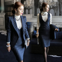 Wholesale 2 Pieces Navy Striped Fashion Women Formal Business Suit Design Ladies Office Skirt Suits