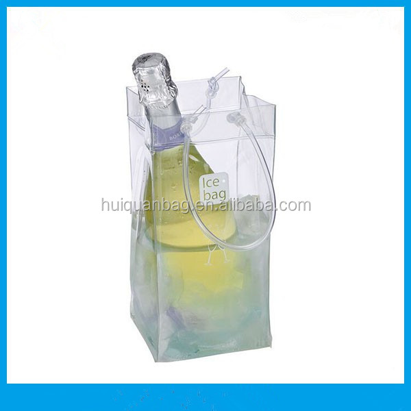 Transparent pvc plastic wine cooler bag wine ice cooler bag with tube handle