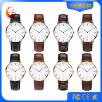 Multifunctional Dual Time Watches Big Face Watch High Quality with Leather Band