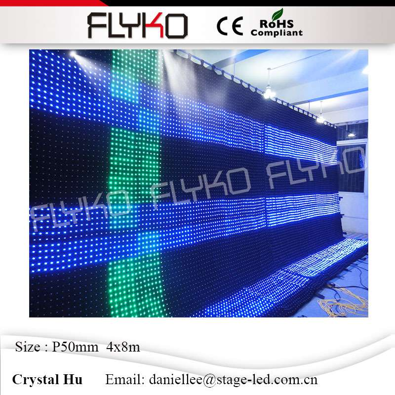 Flyko stage led video curtain play xx movies P50MM 4X8M programmable led stage video curtain wall screen